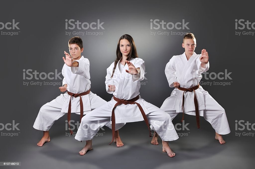 One female and two male brown belt karate doing kata stock photo