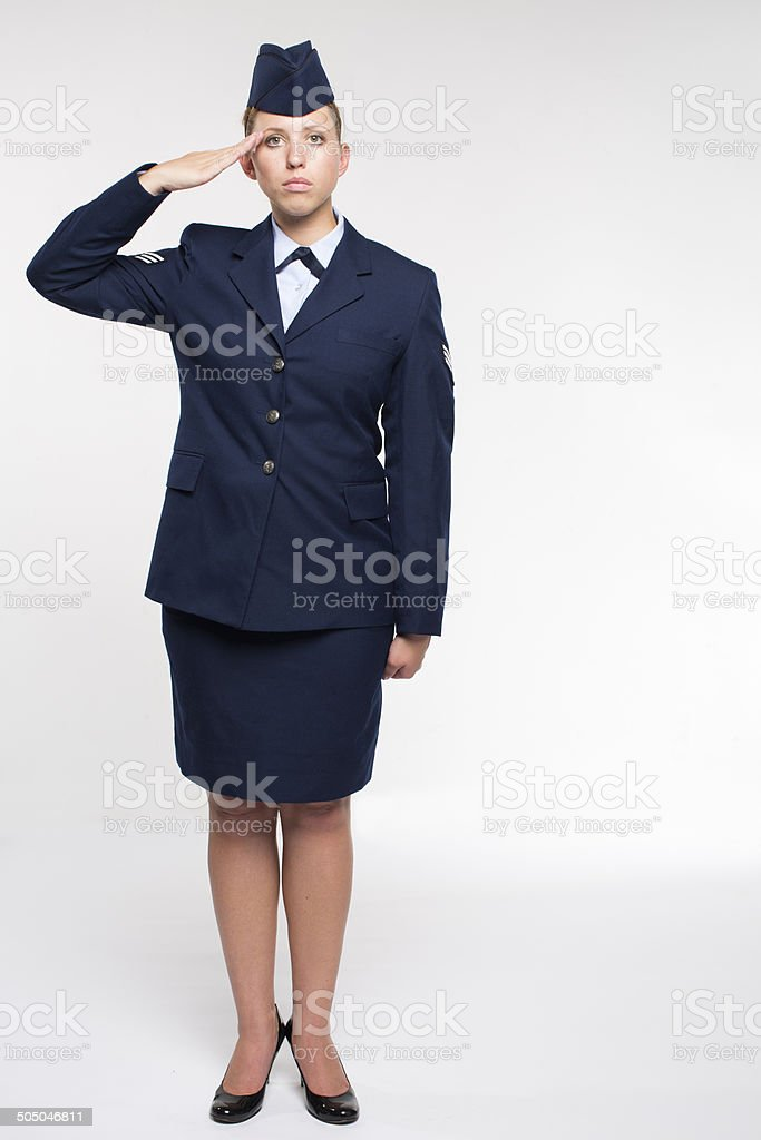 one female US air force senior airman on white background stock photo