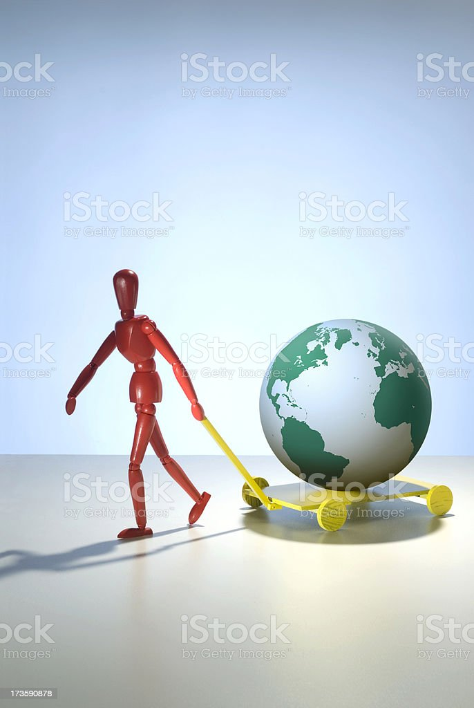 One figure moving the earth. royalty-free stock photo