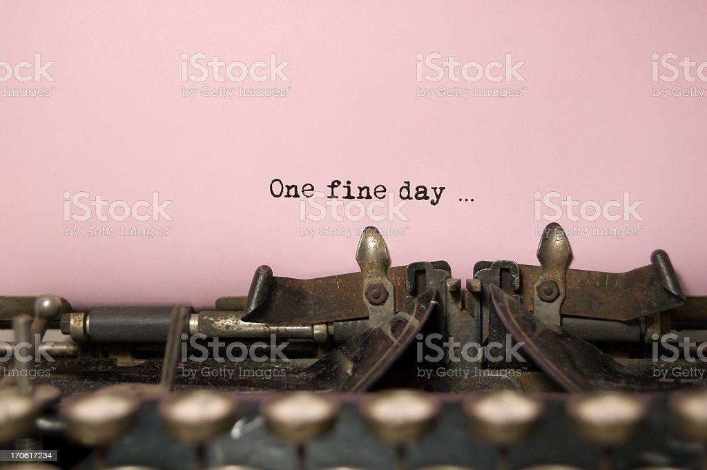 One Fine Day....on antique typewriter stock photo