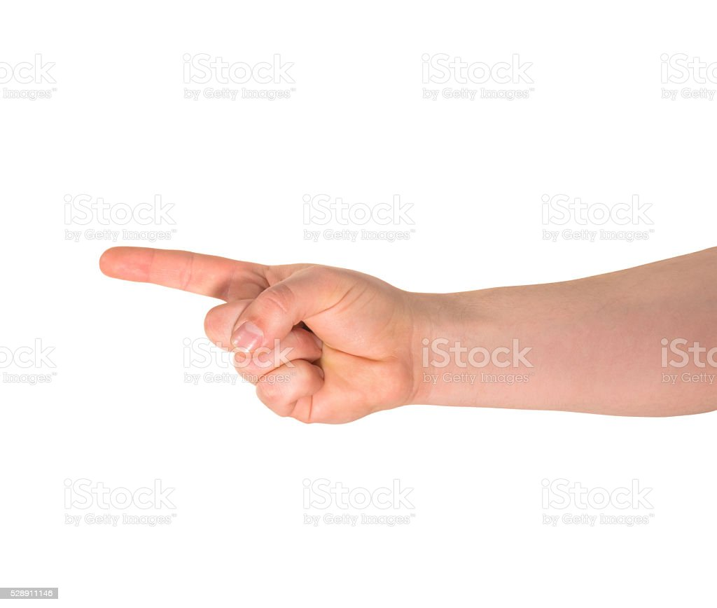 One finger hand gesture sign isolated stock photo