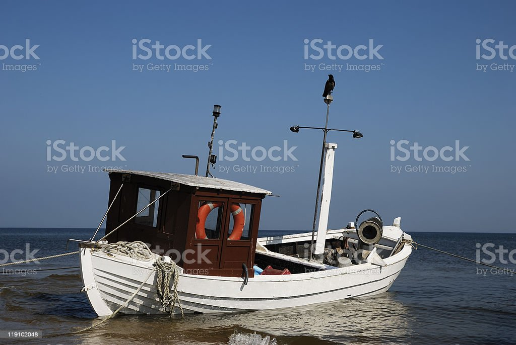 one fishing boat in the sea royalty-free stock photo