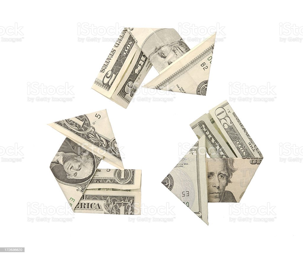 One Five Twenty Dollar Bills Recycle Symbol Arrow Origami royalty-free stock photo