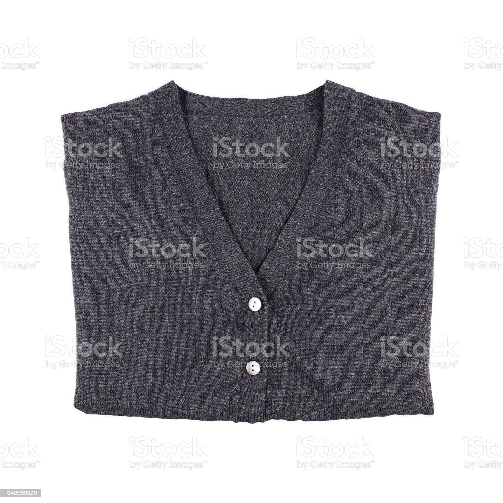 one folded sweater with buttons isolated on white stock photo