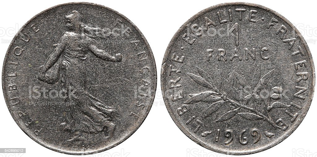 One Franc coin formerly used in France stock photo