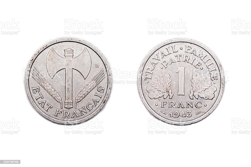 One Franc coin from Wartime France 1943 stock photo