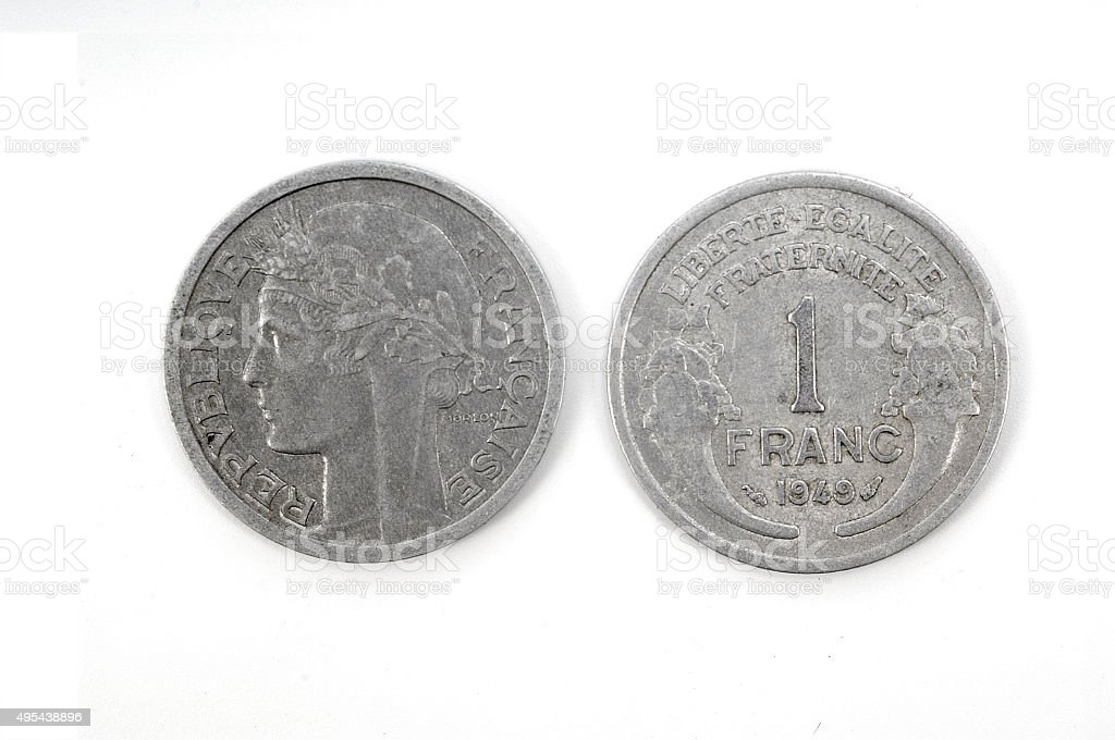 One franc  french coin from 1949 stock photo