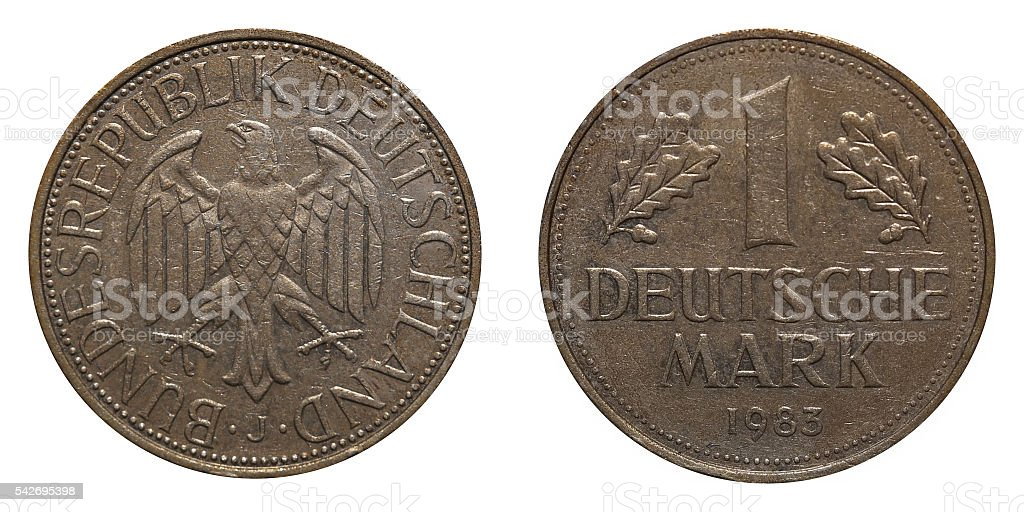 One German Mark coin formerly used in Germany stock photo