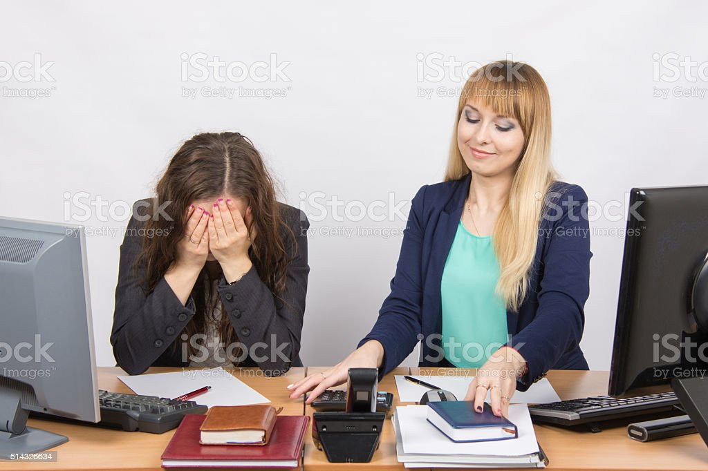 one girl  very upset, others pretty straightens things your desktop stock photo