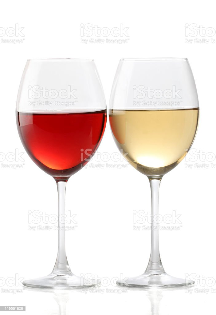 One glass of red wine and one glass of white wine stock photo