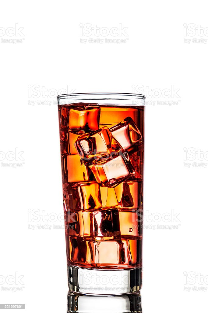 One glass of tea with ice stock photo
