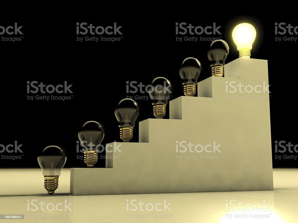 One glowing light bulb amongst other bulbs, concept of idea stock photo