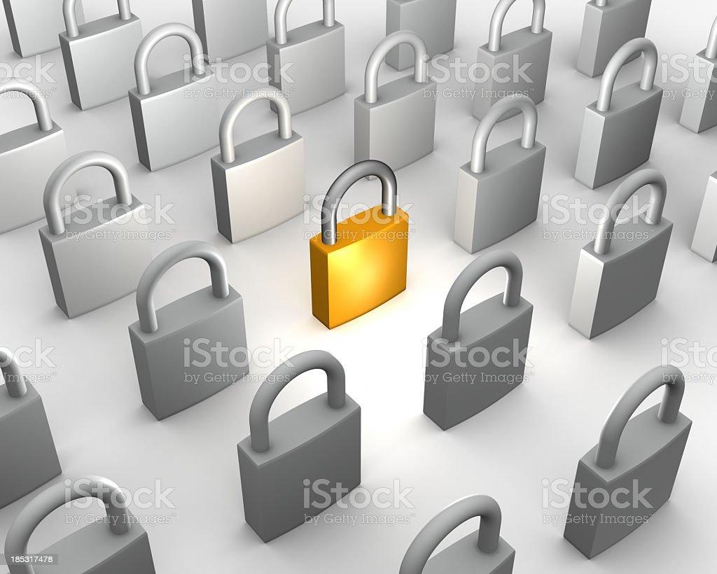 One gold padlock among many grey stock photo
