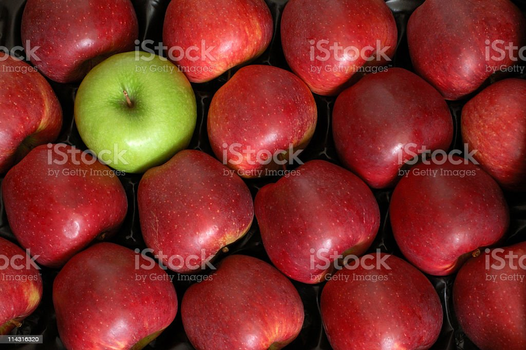 One Green Apple among the Reds stock photo