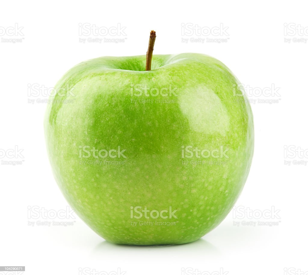 One green Granny Smith Apple on white background royalty-free stock photo