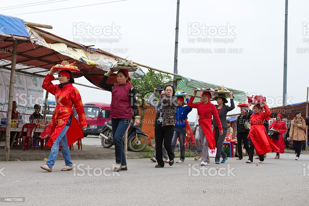 One group of people and mascots are dancing stock photo