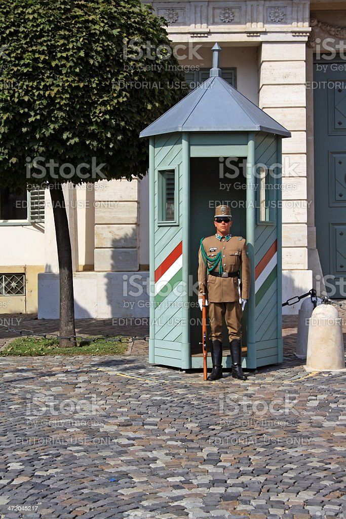 One guard at the President Palace in Budapest royalty-free stock photo