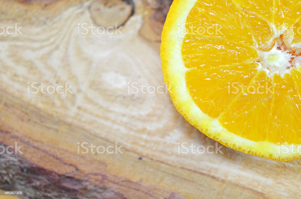 One half of an orange close up royalty-free stock photo