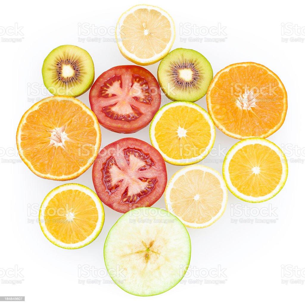 one half of mix fruit stock photo