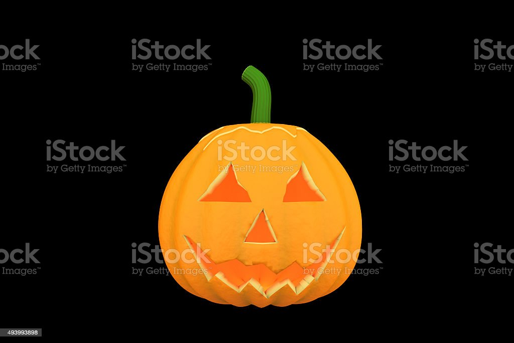One halloween pumpkins in black color background. royalty-free stock photo