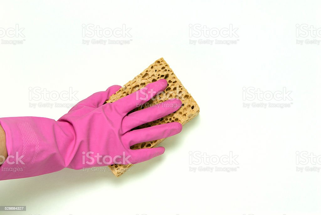 One hand in pink rubber gloves royalty-free stock photo