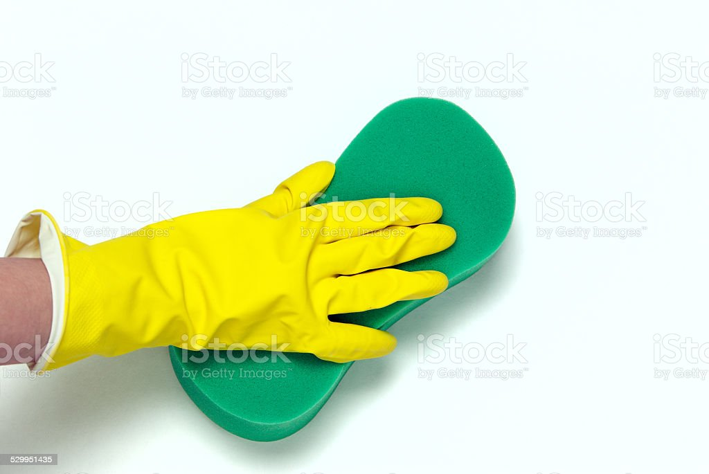 One hand in yellow glove royalty-free stock photo
