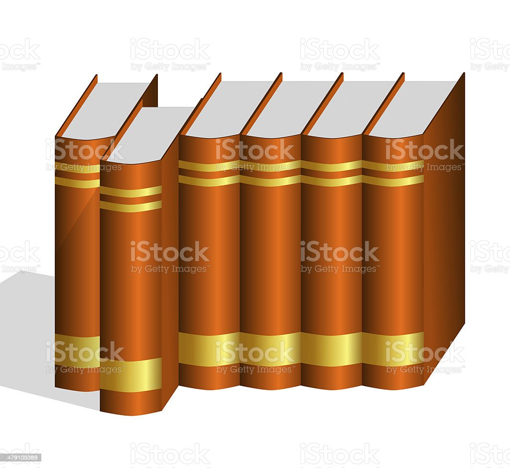 One Hard Bound Book Pulled Out from Row royalty-free stock photo