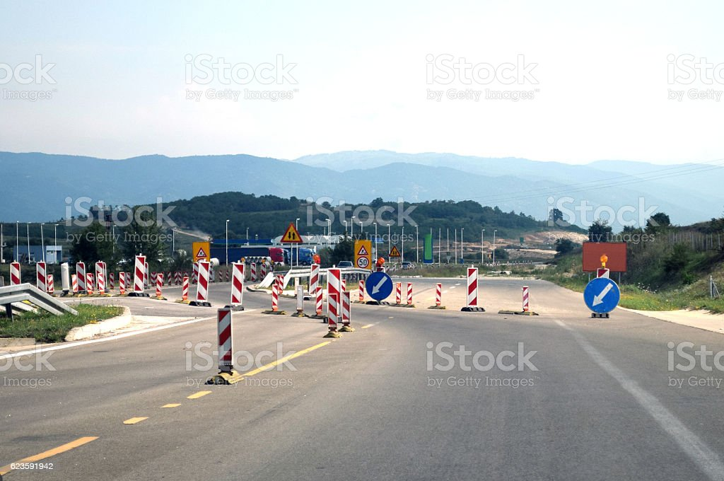 One highway direction closed due to roadworks stock photo