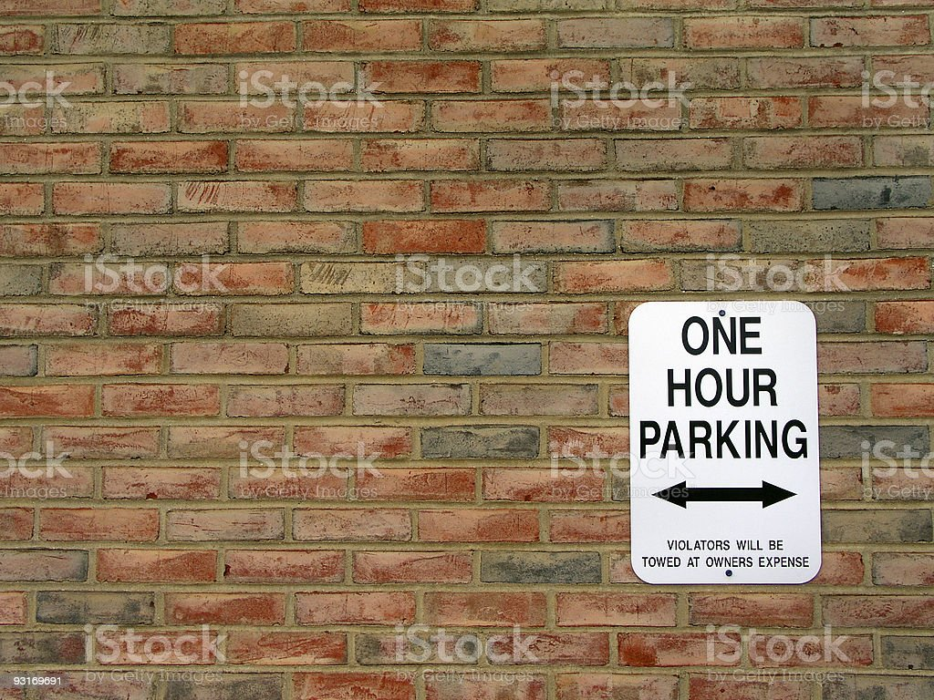 One hour parking stock photo