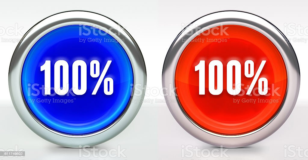 One hundred 100% Icon on Button with Metallic Rim stock photo
