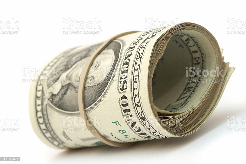 One hundred bills stock photo