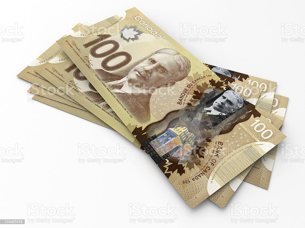 One Hundred Canadian Dollars Banknotes stock photo