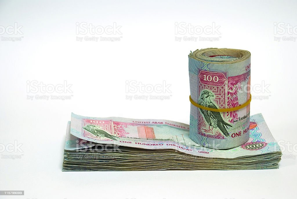 One hundred dirham notes, pile and wrap royalty-free stock photo