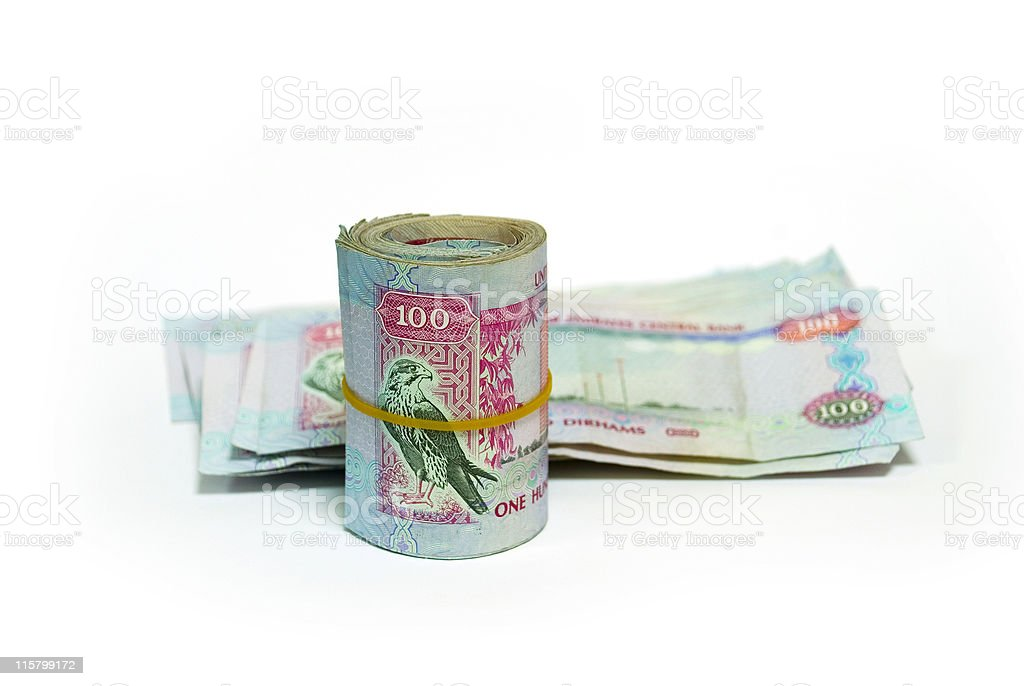 One hundred dirham notes, pile and wrap stock photo