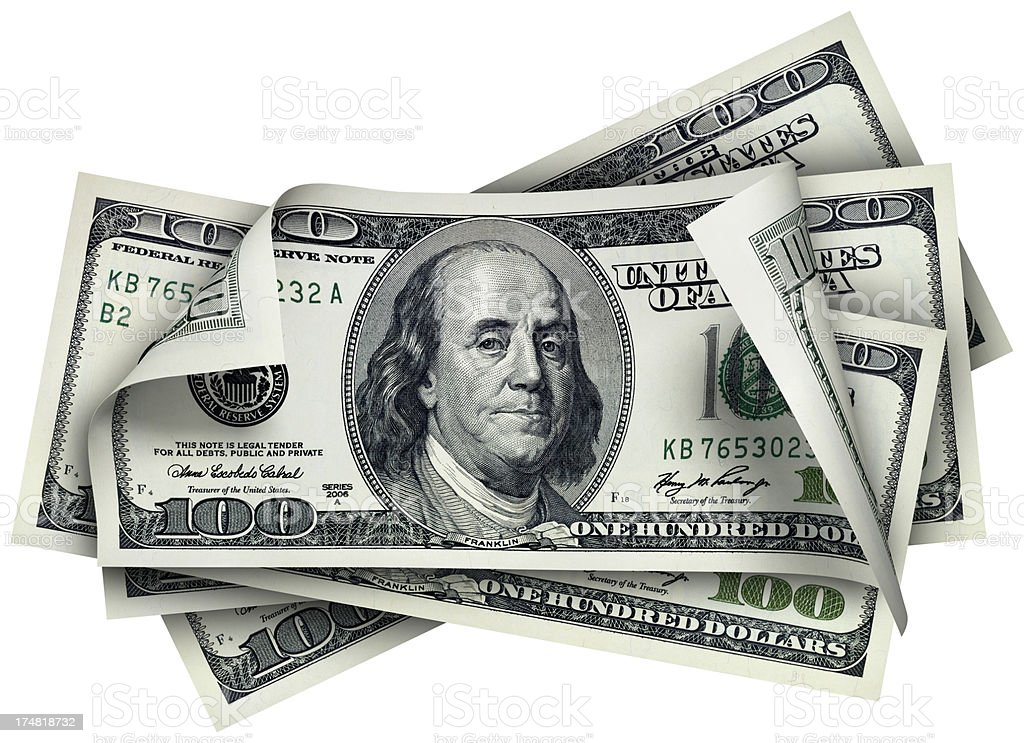 One Hundred Dollar banknotes royalty-free stock photo