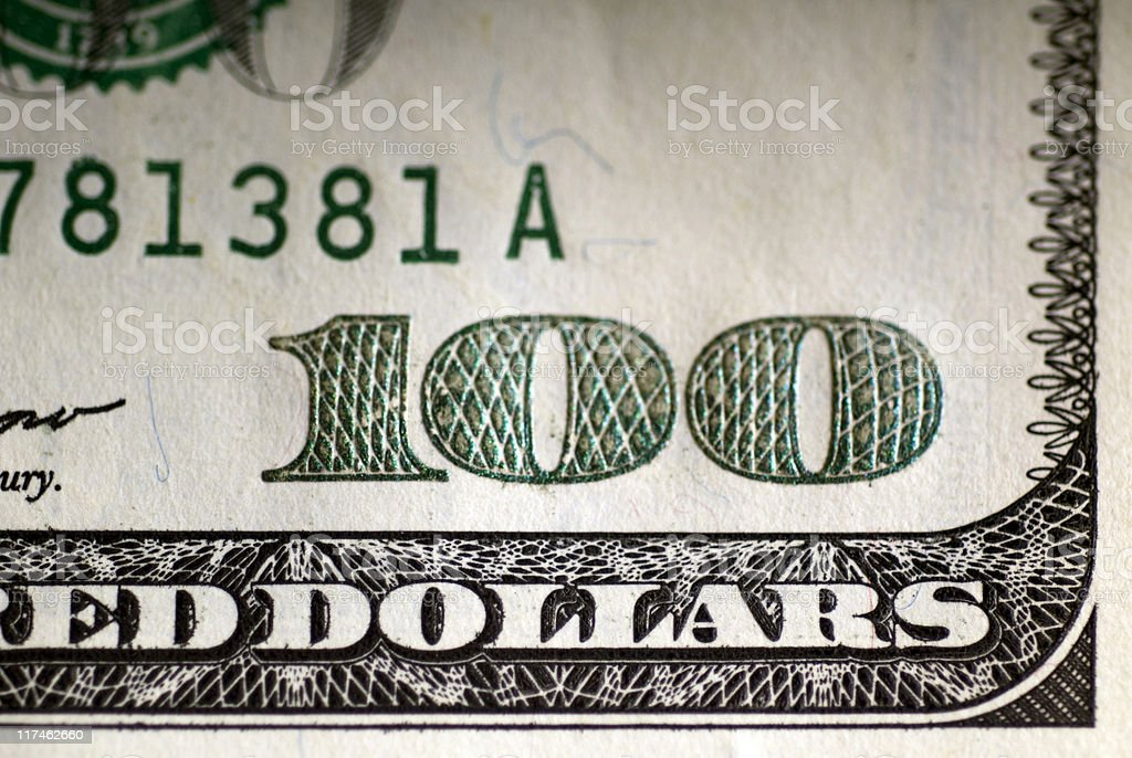 US one hundred dollar bill, close-up royalty-free stock photo