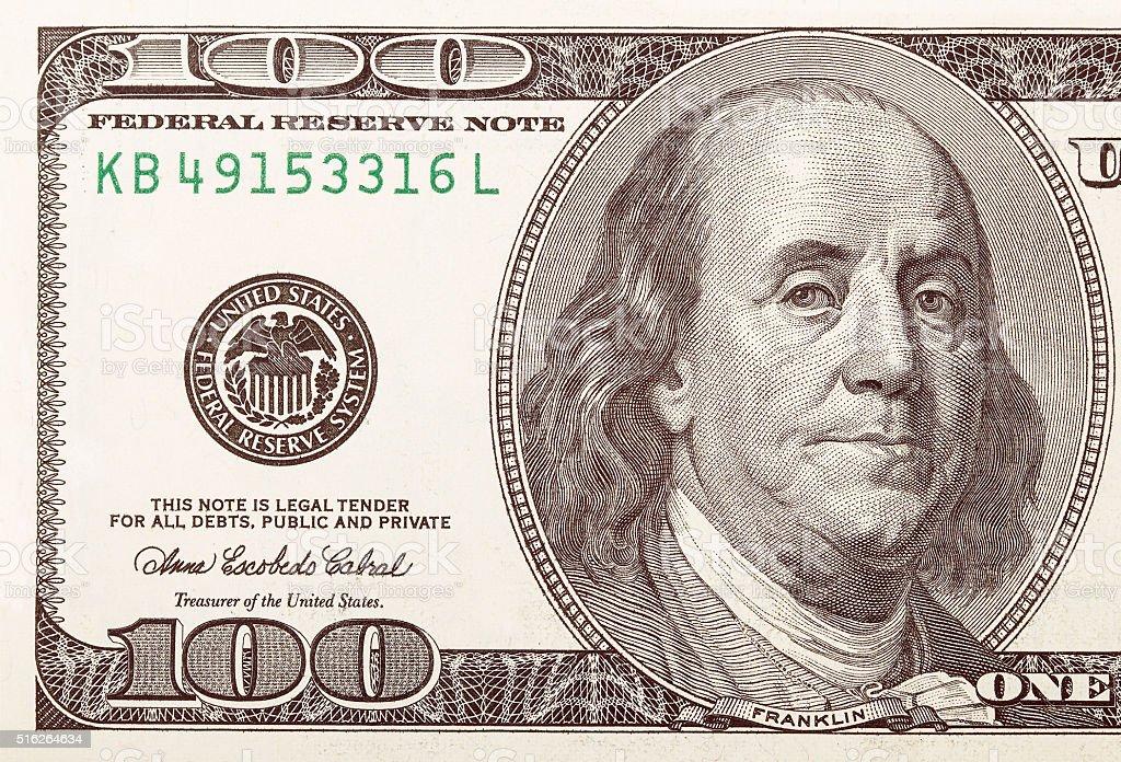 One hundred dollar bill macro shot stock photo