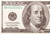 One hundred dollar bill macro shot