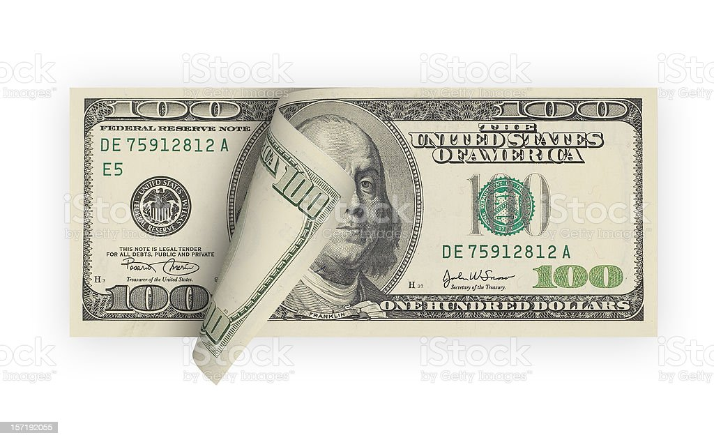 One Hundred Dollar Bill (isolated) stock photo