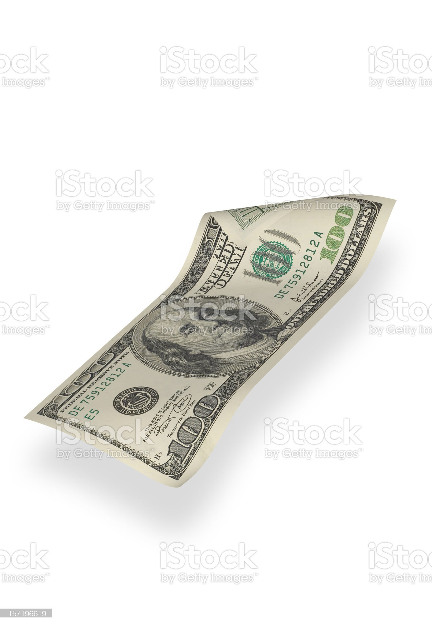 One Hundred Dollar Bill (isolated) royalty-free stock photo