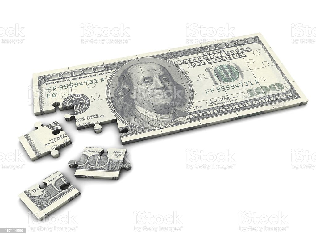 A one hundred dollar bill puzzle stock photo