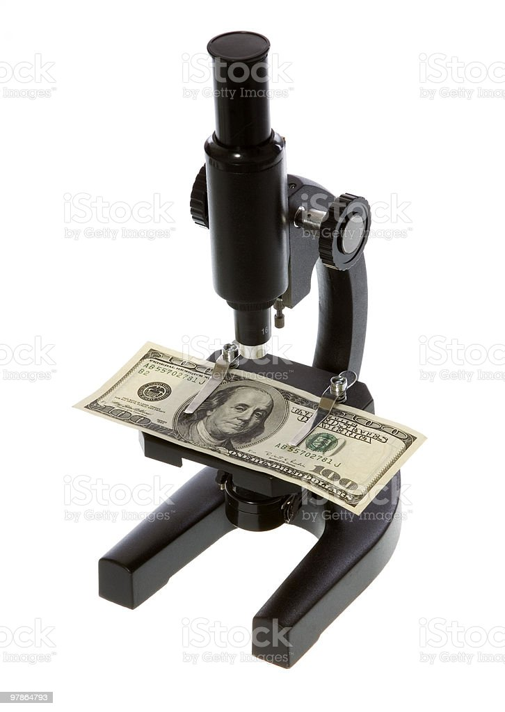 One Hundred Dollar Bill Under a Microscope royalty-free stock photo