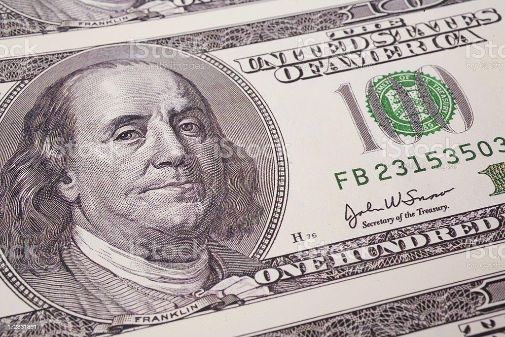 One Hundred Dollar Bill Upclose royalty-free stock photo