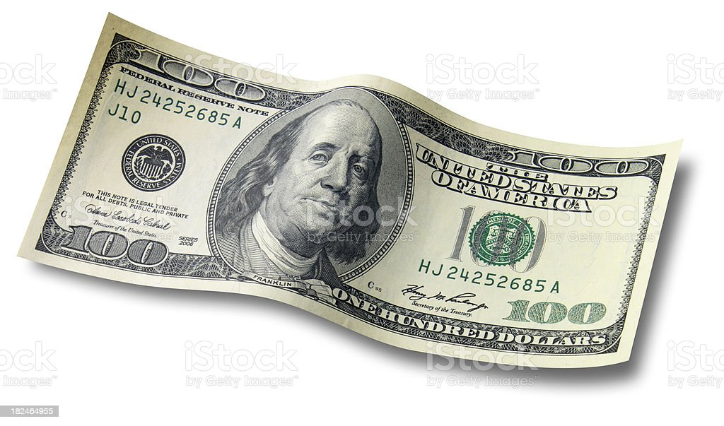 One Hundred dollar bill with shadow royalty-free stock photo