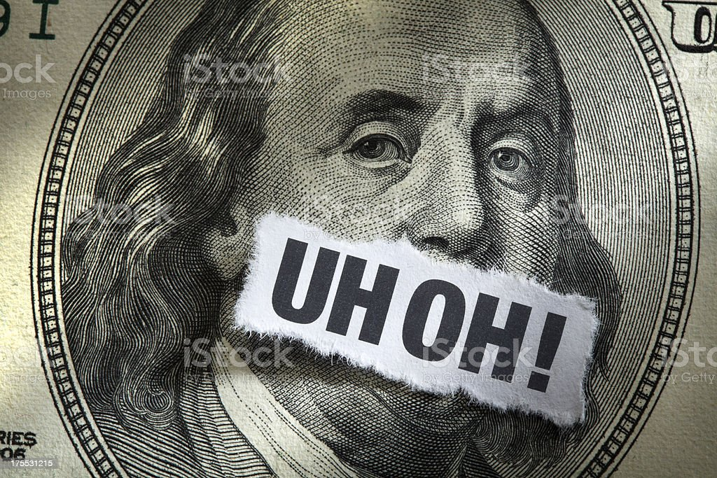 One Hundred Dollar Bill with word Inflation Printed on it stock photo