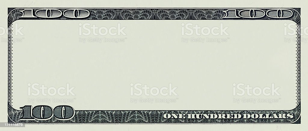 One hundred dollar bill without interior artwork stock photo