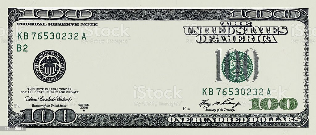 One Hundred Dollar Bill without some original art royalty-free stock photo