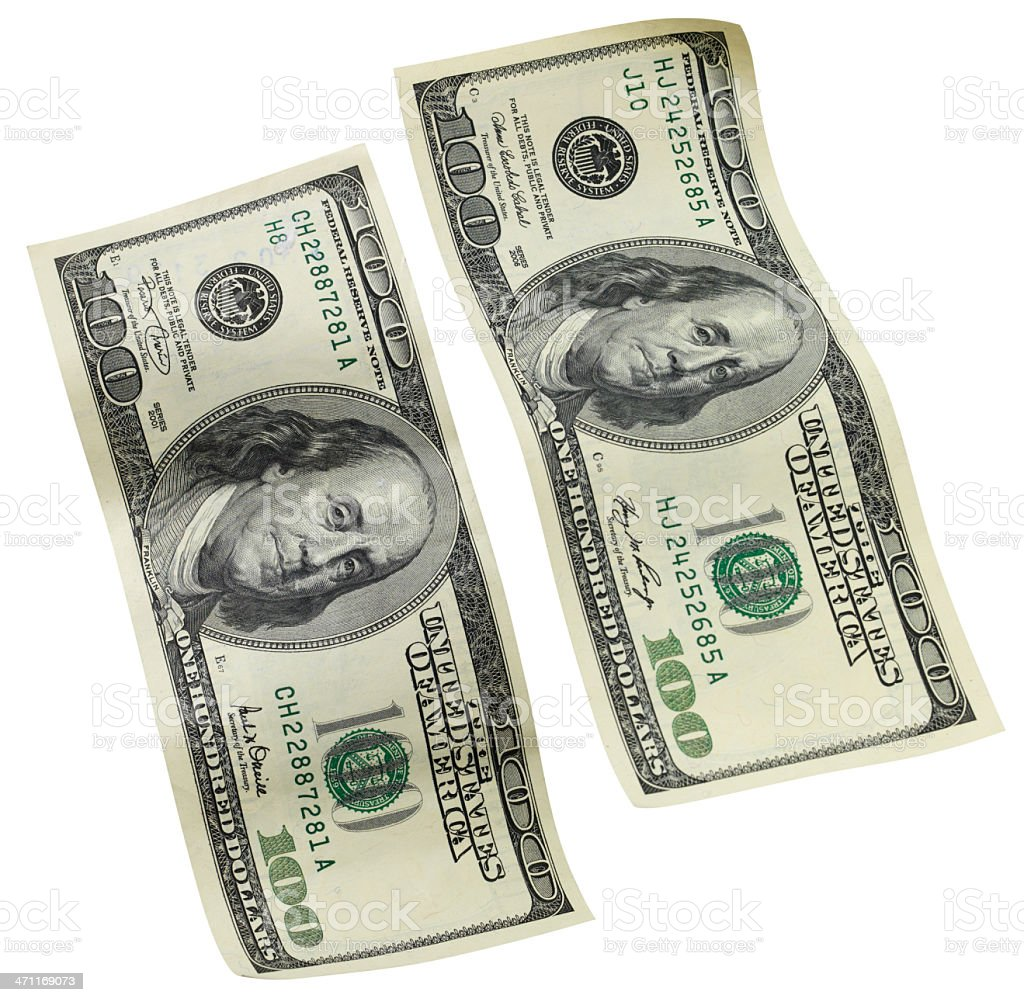 One Hundred dollar bills, isolated on white royalty-free stock photo