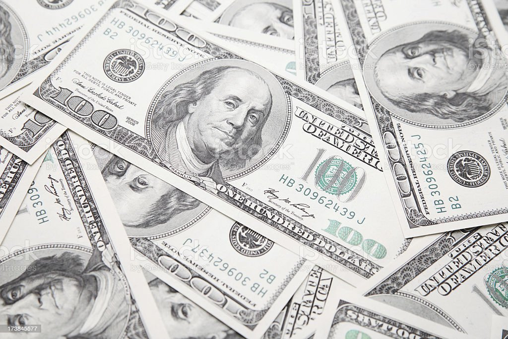 One hundred dollar bills royalty-free stock photo