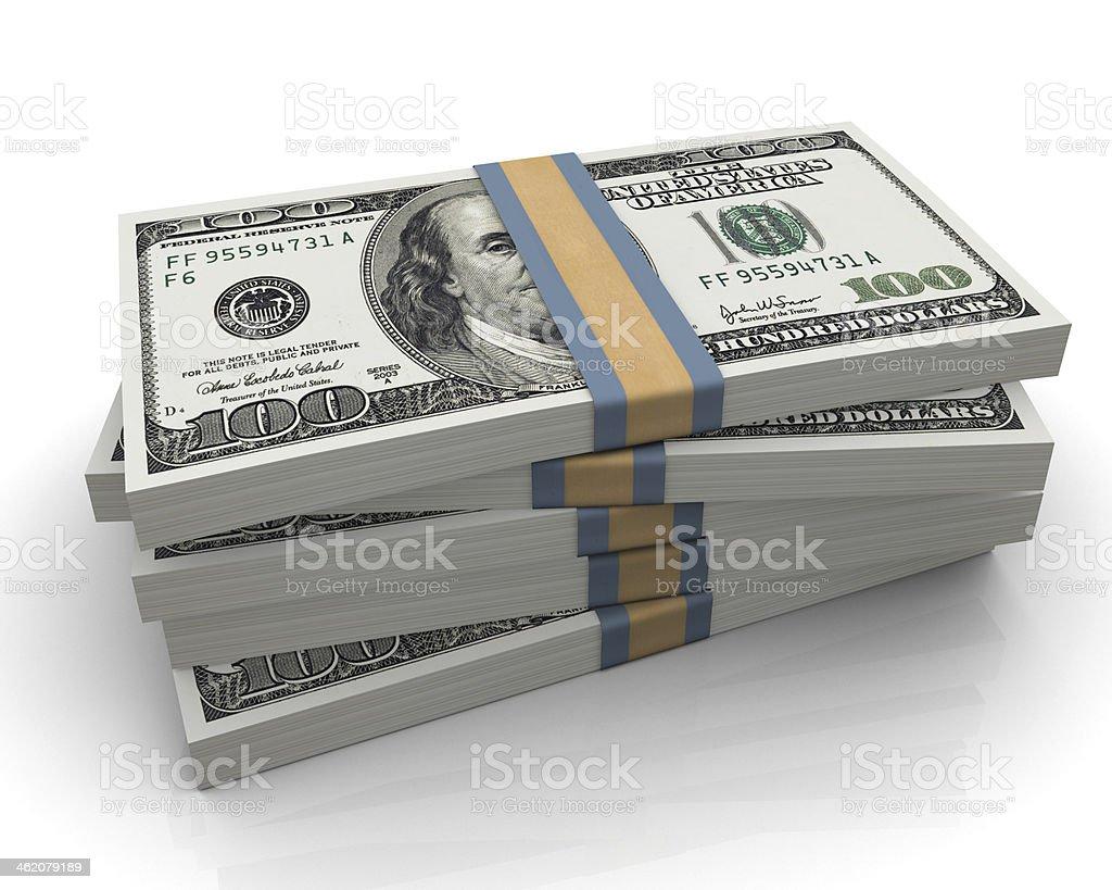 One hundred dollar (100$) bills stock photo
